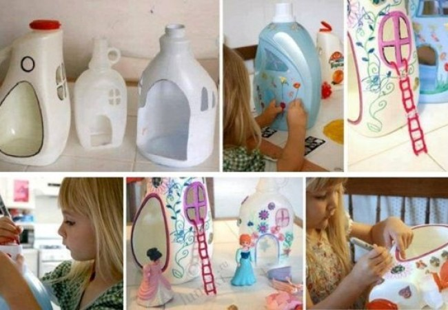 DIY doll houses made from plastic containers_1