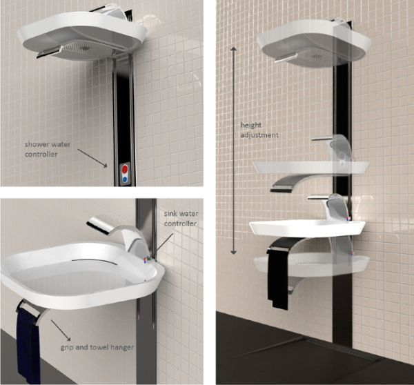 LIFT - A height adjustable sink and shower combo | Home Harmonizing