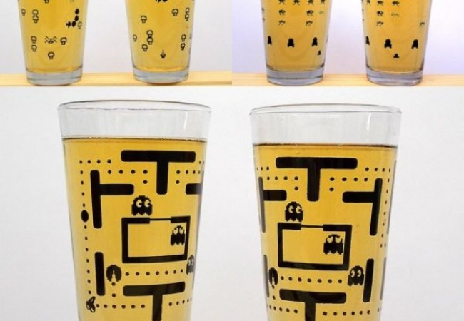 Pint glasses displaying classic video game imagery_2