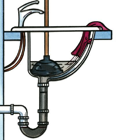 unclog your sink using plunger