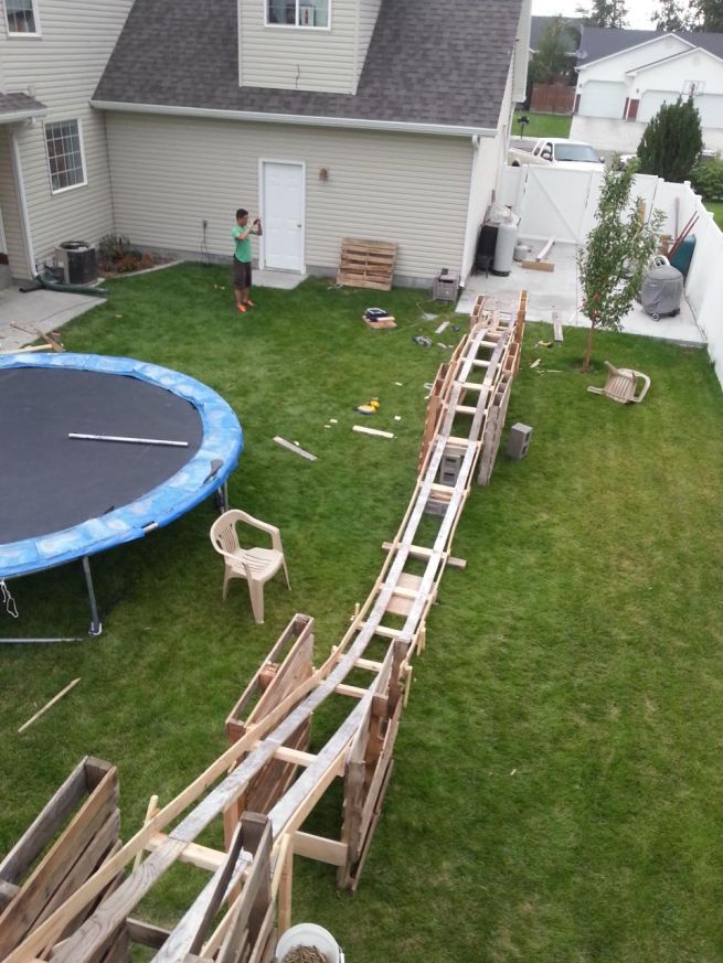Kid Roller Coaster In Backyard : For more details on the cool construction project, check out Imgur