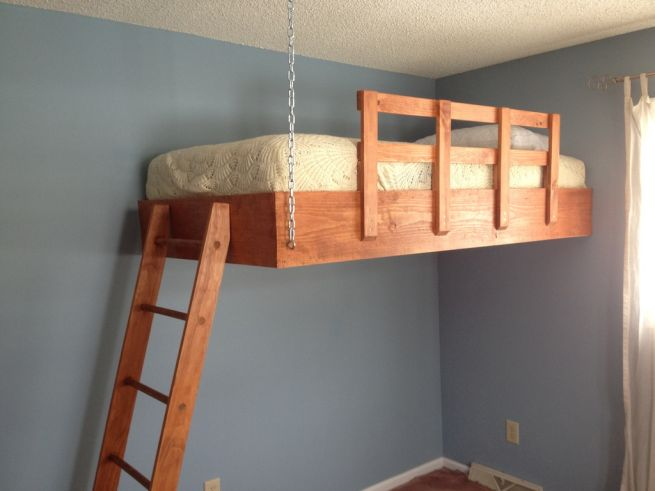 Redditor designs stunning hanging loft bed | Home Harmonizing!
