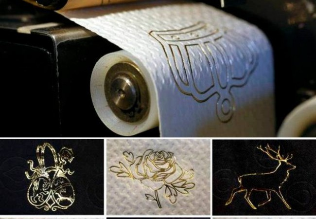 $250 gold embossed toilet paper