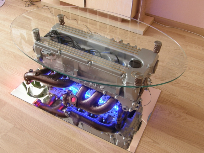Coffee Table Made From Mercedes Benz Engine With Round